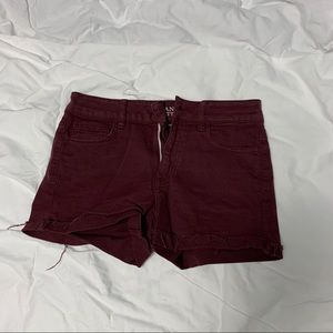 burgundy color shorts